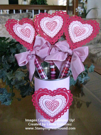 Recycled soup can valentine favors