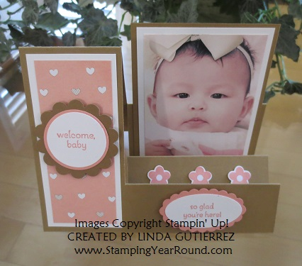 Side stair step card with baby picture front view