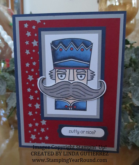 Santa stache nutcracker card