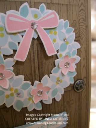 Wonderous wreath baby card close up